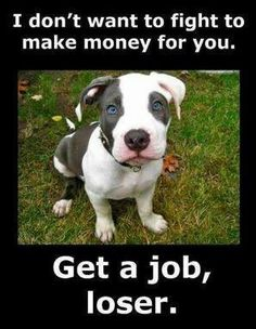 Get a Job.. This is the best ad I've seen in awhile! Punish the deeds, not the breed!