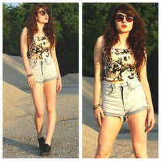 cute high waisted shorts outfits tumblr - Google Search