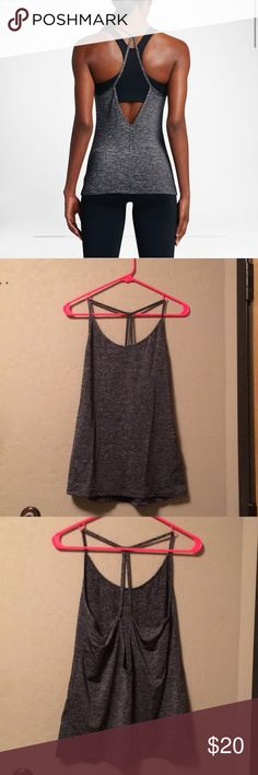 Nike training tank top Dark grey Nike fro-fit training tank top with super cute open back design. Although the pics make it look flared out, it is a tight fit that hugs your body! Never worn. Size M Nike Tops Tank Tops