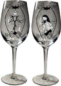 Jack Skellington and Sally Wine Glasses