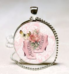 Glass Pendant - 1 inch ROUND  Vintage Shoes with Butterflies and Roses $12.00  www.artfire.com/...