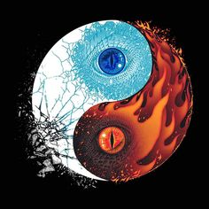 """Ice and Fire"" by Branko Ricov Dragon yin yang design inspired by Game of Thrones Ying Yang, Arte Yin Yang, Yin Yang Art, Yin And Yang, Yin Yang Tattoos, Tatuajes Yin Yang, Dragon Yin Yang Tattoo, Fire And Ice Dragons, Got Dragons"