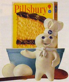 Popular throughout the 1960s: Pillsbury products -- and the Pillsbury Doughboy brand icon!