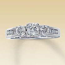 My engagement ring. 3 stone diamond ring from Kay Jewelers