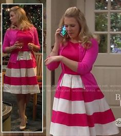 Melissa Joan Harts pink and white striped dress on Melissa & Joey