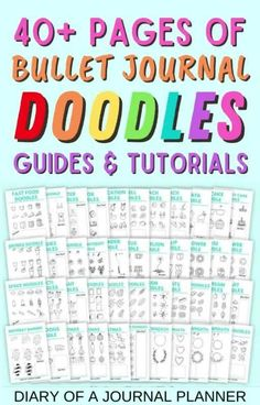 Become a doodling pro with these 40+ printable pages of bullet journal doodles! #bulletjournaldoodles #doodles #bulletjournalprintables Happy Doodles, Bujo Doodles, Cool Doodles, Simple Doodles, Great Doodle, Easy Doodle Art, Planner Template, Printable Planner, Doodle Learn