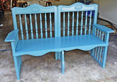 Here's an old drop side crib that I found a new use for. I re-purposed it into a bench.