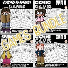 This is a bundle of my Grammar Games and Math Games resources at a discounted… #lucky Hashtags: #MaVi #Grammar