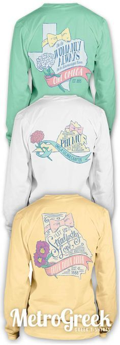 Preppy Sorority State T-shirts with Sorority Motto. Perfect for Recruitment, Bid Day, or just to show your sorority and state pride.