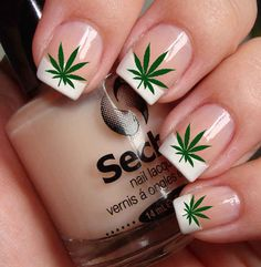 Marijuana Nail Art - the leaves have been added with a photo editing program, but it is still a nice idea.