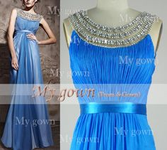2014 Prom DressStraps Crystal  Chiffon Prom by MyGown on Etsy, $139.90