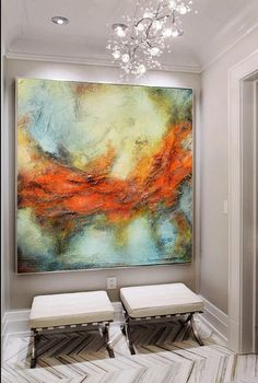 Red blue gray abstract print red orange modern painting abstract landscape large print on canvas modern unique elegant painting THIS IS A PRINT ON CANVAS OR PAPER NOT AN ORIGINAL PAINTING AND IT COMES ROLLED ON A TUBE. YOU NEED TO FRAME IT BEFORE HANGING. Limited edition fine art