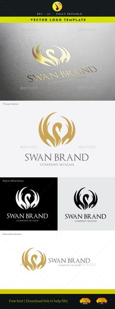 Elegant Swan Brand Logo EPS Template • Only available here ➝ https://graphicriver.net/item/swan-brand/11152677?ref=pxcr