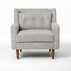 Crosby Armchair - Prints #westelm  In gray chevron or blue retro ikat (looks like quatrefoil!)