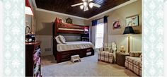 Portfolio | Lori Rourk Interiors - Boy room, wood ceiling