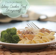 {Six Ingredient} Slow Cooker Beef Stroganoff ~ throw it all in the pot and let Mrs. Potts do the work!