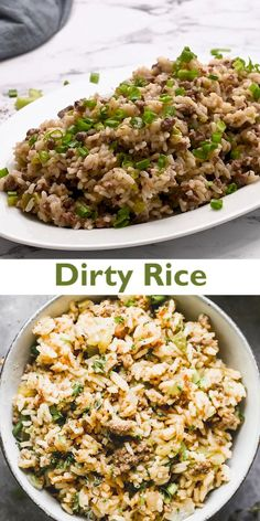 Dirty Rice Recipe Easy, Easy Rice Recipes, Mexican Food Recipes, Beef Recipes, Chicken Recipes, Dinner Recipes, Cooking Recipes, Healthy Recipes, Salads