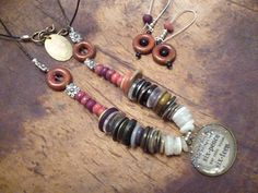 Vintage Buttons Necklace with Matching Earrings by ElliTs on Etsy