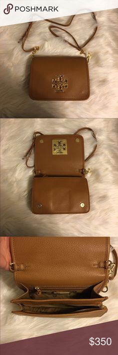"""Tory Burch Britten Combo Crossbody NWT Tory Burch Britten Combo Crossbody! Color is Bark! 100% authentic  The design can be worn over the shoulder or across the body or carried as a clutch.  Pebbled leather Flap with magnetic snap closure Flat leather-and-chain adjustable, removable cross-body strap 1 interior zipper pocket,2 interior open pockets Height: 5.98""""  Length: 8.37""""  Depth: 2.51""""  🚫No trades 🚫No lowballing ✅Bundle Discount 💯 Authentic items ask about using Ⓜ️erc Tory Burch Bags…"""