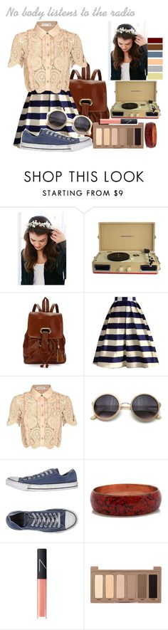 """""""Nobody listens to the radio..."""" by grungekiddhipster ❤ liked on Polyvore featuring Urban Outfitters, Crosley, Chicwish, self-portrait, Converse, NARS Cosmetics, Urban Decay, Spring and ootd"""