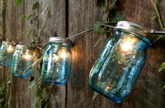 Heratige Collection Mason Jar Strand with Light - Full Pint Limited Edition Blue #DIY
