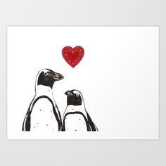 Penguin Love Art Print by Ashley DeVrieze Penguin Art, Penguin Love, Penguin Illustration, Graphic Illustration, Love Wall Art, Love Art, Arctic Animals, Good Marriage, Daughter Of God