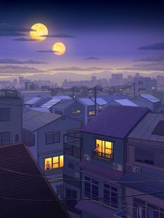 1Q84 on Behance Landscape Illustration, Landscape Art, Illustration Art, Cool Anime Pictures, Art Pictures, Haruki Murakami Books, 1q84, Kafka On The Shore, 8bit Art