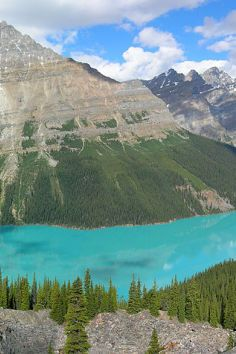 Peyto Lake (pea-toe) is a glacier-fed lake located in Banff National Park in the Canadian Rockies.