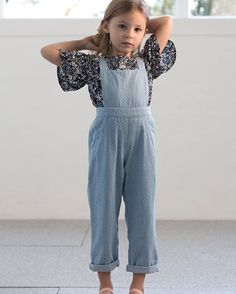 Denim overall with floral blouse. Perfection! #estella #designer #kids