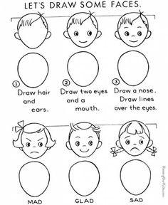 crédit image raising our kids Mon fils en est encore à dessiner des visages super simples : un rond, deux petits ronds pour les yeux, un sourire et parfois des cheveux (du style de ceux qui se dressent sur la tête, comme de l'herbe). Je mets donc de côté ce dessin trouvé sur raising our kids , pour plus tard, pour quand il aura envie de faire des visages un peu plus perfectionnés, étape par étape en commençant par les cheveux et les oreilles, puis des yeux expressifs et une mouche (triste…