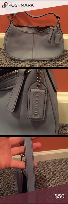 Light blue small coach bag. Light blue small Coach bag. Only worn a few times. In great condition. Coach Bags Mini Bags