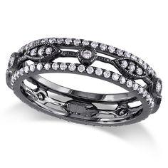 Diamond Eternity Fashion Ring 14k Black Rhodium Plated Gold (0.12ct) -  Allurez.com