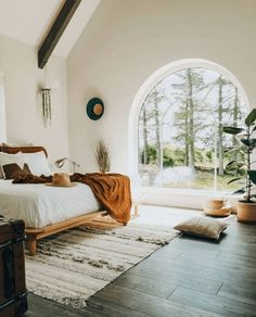 Boho Bedroom Bright boho bedroom with arched window overlooking the trees arched bedroom ar Warm Home Decor, French Home Decor, Cheap Home Decor, Arched Windows, Beautiful Bedrooms, Home Decor Accessories, Home Interior Design, Nordic Interior, Home Remodeling