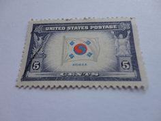 5 cents Korea Old U.S. Postage Stamp
