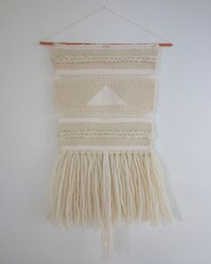 Hand Woven Wall Hanging / Textile Art  Cream White by 01JACKSON, $40.00