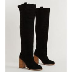 Kelsi Dagger Harmanos Boot - Black US 10 ($250) ❤ liked on Polyvore featuring shoes, boots, black, leather upper boots, tall black boots, over the knee leather boots, thigh high boots and over the knee boots