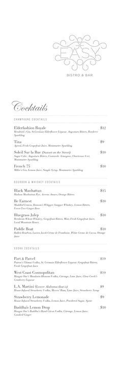 Art of the Menu: Easy Bistro & Bar / cocktail list