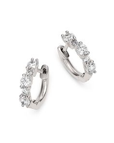 Diamond Mini Huggie Hoops in 14K White Gold, 0.50 ct. t.w. - 100% Exclusive