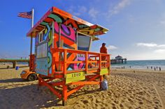 "Portraits of Hope - ""Summer of Color,"" Civic and Public Art project. LA County Lifeguard Towers. (photo - Manhattan Beach, CA) www.portraitsofhope.org www.edmassey.com"