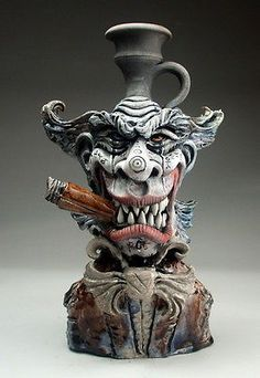 Happy Evil Clown Face Jug folk art sculpture raku pottery by Mitchell Grafton