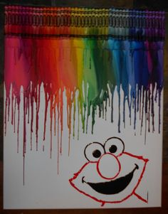 Elmo Melted Crayon Painting by OnceUponACrayon on Etsy, $35.00