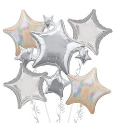 Foil Silver Stars Balloon Bouquet - Party City