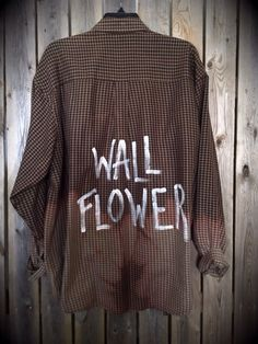 """Soft flannel plaid shirt hand painted and bleached with """"Wall Flower"""" .....soft grunge, hipster"""