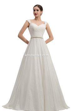Satin Wedding Dresses A Line Lace Sweep Train Bridal Gown With Straps http://www.ikmdresses.com/Satin-Wedding-Dresses-A-Line-Lace-Sweep-Train-Bridal-Gown-With-Straps-p90977