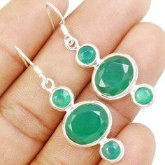 Green Onyx 925 Sterling Silver Earring Allison Co Jewelry E-8 #Allisonsilverco