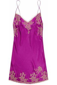 Carine Gilson Théme Tamara lace-appliquéd silk-satin chemise - 59% Off Now at THE OUTNET