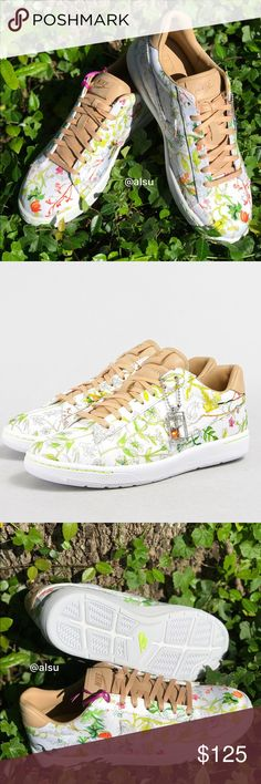 Tennis classic Ultra LIB OS, size 7. Price is firm! No trades. Featuring bright green colours and simple lines, the collection is reminiscent of floral landscapes and delicate watercolour sketches. The Tennis Classic Ultra features a low profile, leather upper and cushioned midsole to provide durability and comfort.  - Rubber outsole - Leather upper - Lightweight cushioning - Liberty white vachetta tan qs colourway. Brand new with no lid box. Nike Shoes Sneakers