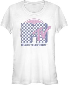 MTV Women's Vintage T-shirt - Classic MTV Music Television Checkerboard Logo | White Shirt