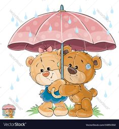 Buy Vector Illustration of Two Brown Teddy Bear Boy by vectorpocket on GraphicRiver. Vector illustration of two brown teddy bear boy and girl hiding from the rain under the umbrella.