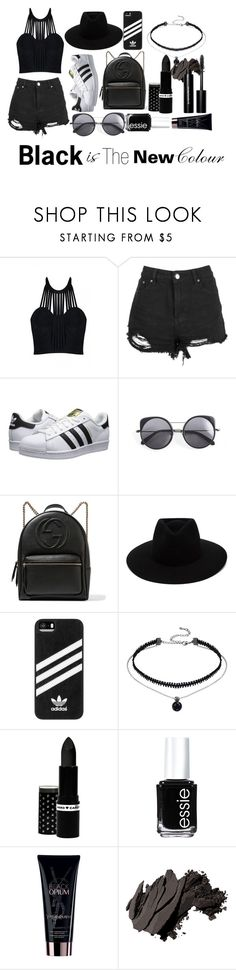 """Black Is The New Colour"" by esmeebetten on Polyvore featuring mode, Posh Girl, adidas Originals, Wood Wood, Gucci, rag & bone, adidas, Hard Candy, Essie en Yves Saint Laurent"